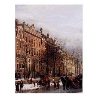 Cartão Postal O Herengracht de aan Amstel por Cornelis Springer