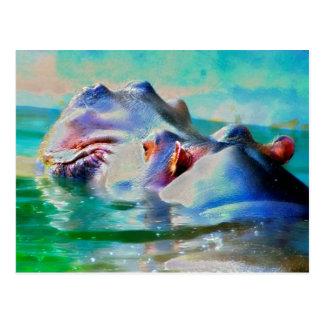 Cartão Postal O hipopótamo azul