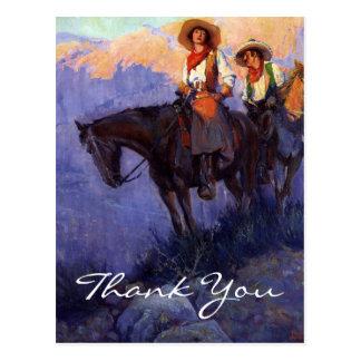 Cartão Postal O homem e a mulher de Anderson em cavalos