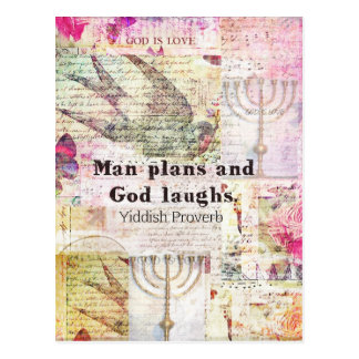 Cartão Postal O homem planeia e o deus ri o PROVÉRBIO YIDDISH