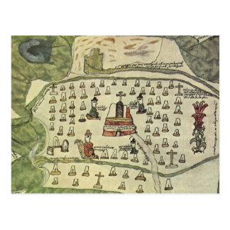 Cartão Postal O império asteca de Montezuma, mapa do mundo