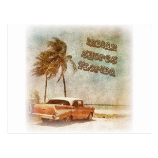 Cartão Postal O indiano do vintage suporta a cena da praia