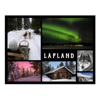 Cartão Postal O inverno de Lapland ajardina a colagem preta do