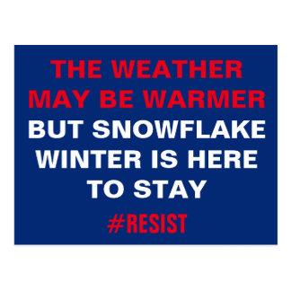 Cartão Postal O inverno do floco de neve está aqui permanecer a