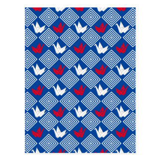 Cartão Postal O japonês Origami Cranes o teste padrão (Orizuru)