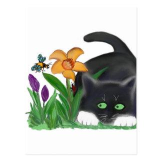 Cartão Postal O jardim do primavera tenta uma abelha e um