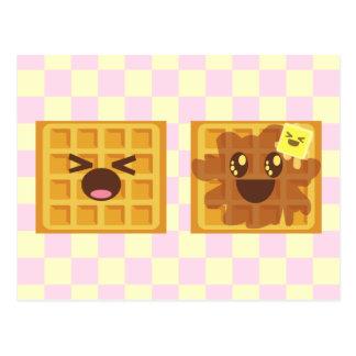 Cartão Postal o kawaii waffles pequeno almoço do bom dia!