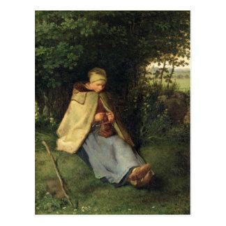 Cartão Postal O Knitter ou, o Shepherdess assentado, 1858-60