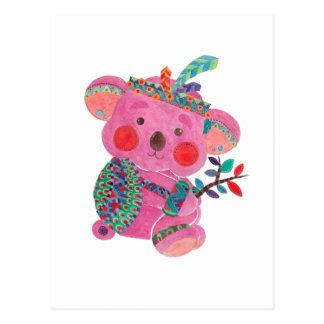 Cartão Postal O Koala cor-de-rosa