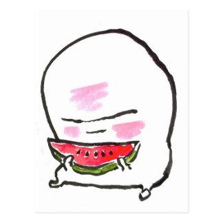 Cartão Postal o kun do nuppera come a melancia