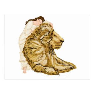 Cartão Postal O leão e a senhora