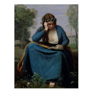 Cartão Postal O leitor coroado com flores, ou Virgil