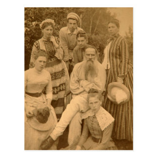 Cartão Postal O Léon Tolstói autor com sua família