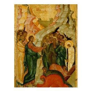 Cartão Postal O levantamento de Lazarus, ícone do russo