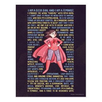 Cartão Postal O litania da menina do geek para o feminismo