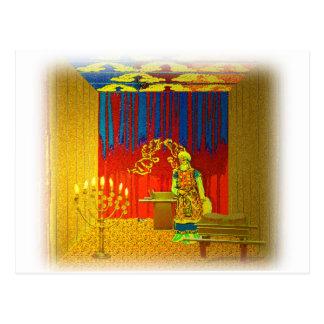 Cartão Postal O lugar santo do tabernáculo com padre alto