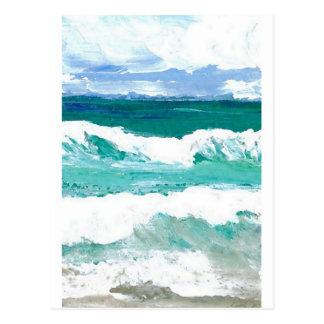 Cartão Postal O mar de dança do oceano das ondas acena presentes