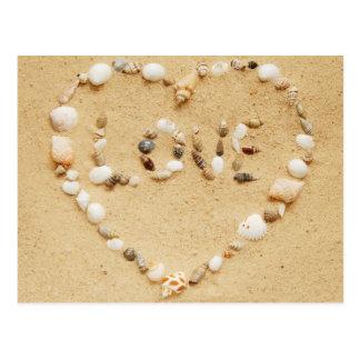 Cartão Postal O mar Shell ama o coração