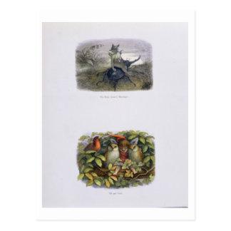 Cartão Postal O mensageiro da rainha feericamente, e duende e