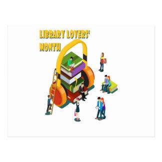Cartão Postal O mês dos amantes da biblioteca - dia da