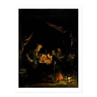 Cartão Postal O mestre da escola, 1660-65 (óleo no painel)