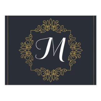 Cartão Postal O monograma elegante | do azul e do ouro entra no