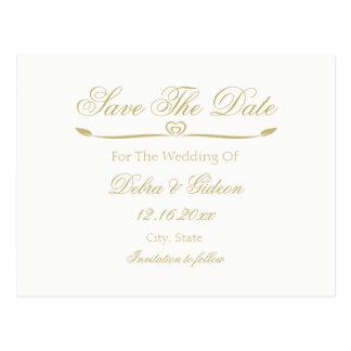 Cartão Postal O monograma elegante do branco e do ouro salvar a