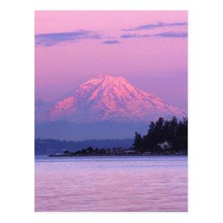 Cartão Postal O Monte Rainier no por do sol, estado de