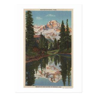 Cartão Postal O Monte Rainier, WA - lago mirror com Mt.