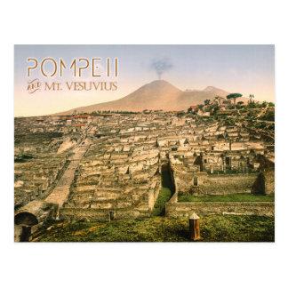 Cartão Postal O Monte Vesúvio e as ruínas de Pompeii em Italia