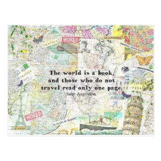 Cartão Postal O mundo é umas CITAÇÕES do VIAGEM do livro