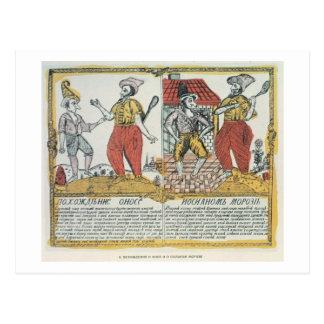 Cartão Postal O nariz e o Frost, russo, fim do século XVIII