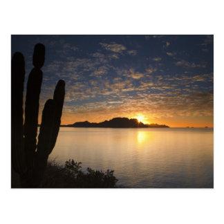 Cartão Postal O nascer do sol sobre Isla Danzante no golfo de