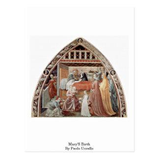 Cartão Postal O nascimento de Mary por Paolo Uccello