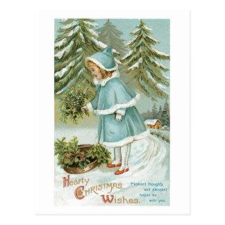 Cartão Postal O Natal entusiasta deseja o vintage