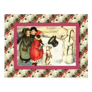 Cartão Postal O natal vintage, crianças encontra um boneco de