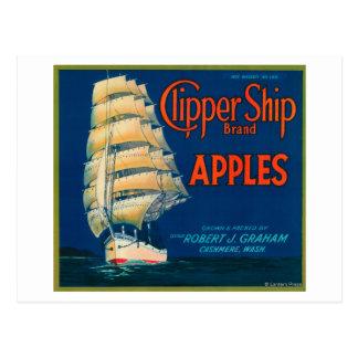 Cartão Postal O navio de tosquiadeira Apple etiqueta (verde) - a