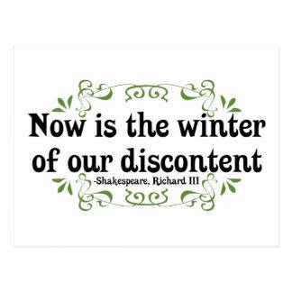 Cartão Postal O Now é o inverno de nosso descontentamento