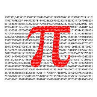 Cartão Postal O número vermelho pi é um símbolo da constante
