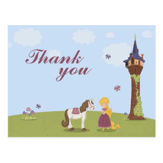 Cartão Postal O obrigado bonito da menina da torre do rapunzel