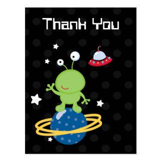 Cartão Postal O obrigado do menino estrangeiro de Outerspace
