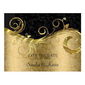 Cartão Postal O ouro e o damasco preto com redemoinho salvar a