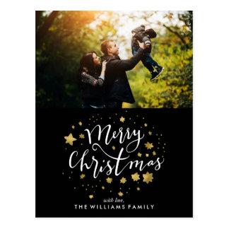 """Cartão Postal O ouro Stars a foto do """"Feliz Natal"""""""