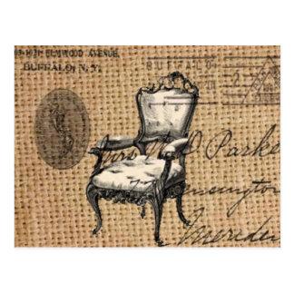 Cartão Postal o país francês scripts a cadeira do rococo de