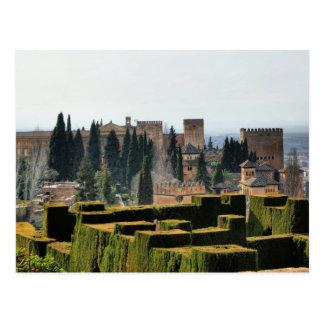 Cartão Postal O palácio de Alhambra na espanha