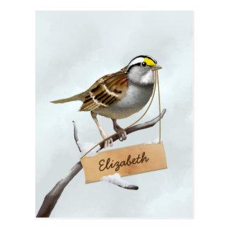 Cartão Postal O pardal Throated branco personaliza o nome