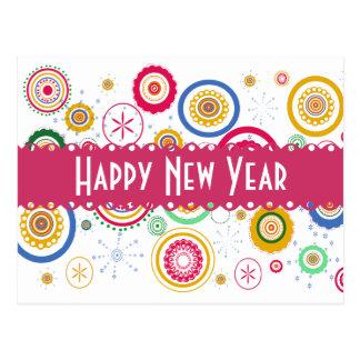 Cartão Postal O Partee de ano novo! Círculos Funky coloridos