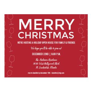 Cartão Postal O partido do vinho tinto do Natal da casa aberta