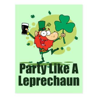 Cartão Postal O partido gosta de um Leprechaun