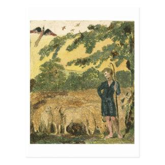 """Cartão Postal O pastor, das """"canções da inocência"""", 1789 (col"""